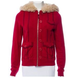 MARC JACOBS Red Faux Fur Hooded Cotton Button Coat